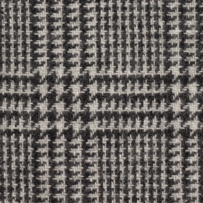 ウール&アクリル混×チェック(アイボリー&ブラック)×ツイード イメージ1
