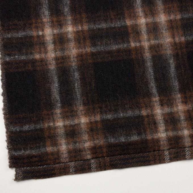 ウール&ポリエステル×チェック(ブラウン&ブラック)×フリースニット イメージ2