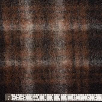 ウール&ポリエステル×チェック(ブラウン&ブラック)×フリースニット サムネイル4