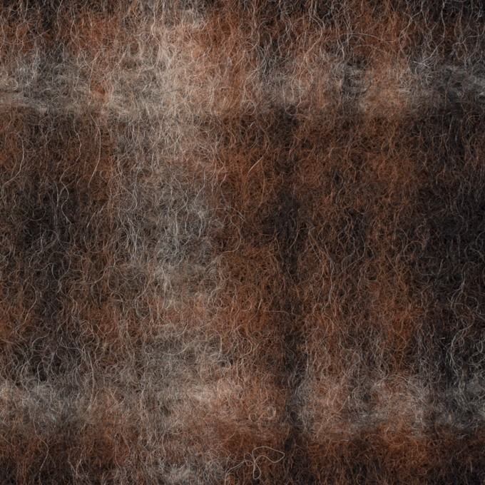 ウール&ポリエステル×チェック(ブラウン&ブラック)×フリースニット イメージ1