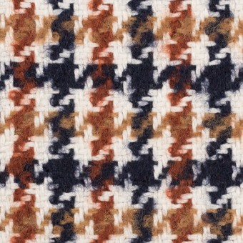 ウール&コットン混×千鳥格子(オークル、レンガ&ネイビー)×千鳥格子