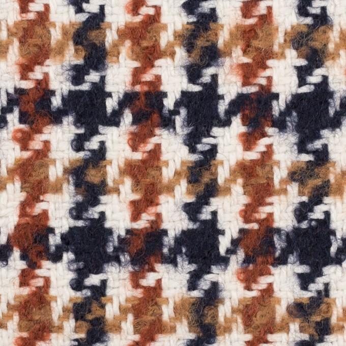 ウール&コットン混×千鳥格子(オークル、レンガ&ネイビー)×千鳥格子 イメージ1