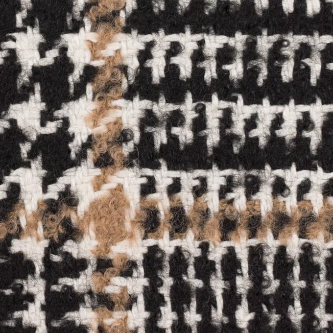 ウール&コットン混×チェック(ブラック&オークル)×ファンシーツイード イメージ1