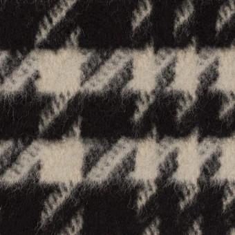 ウール×チェック(グレイッシュベージュ&ブラック)×千鳥格子