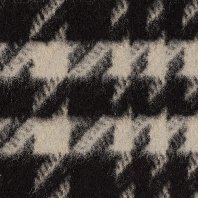 ウール×チェック(グレイッシュベージュ&ブラック)×千鳥格子 イメージ1