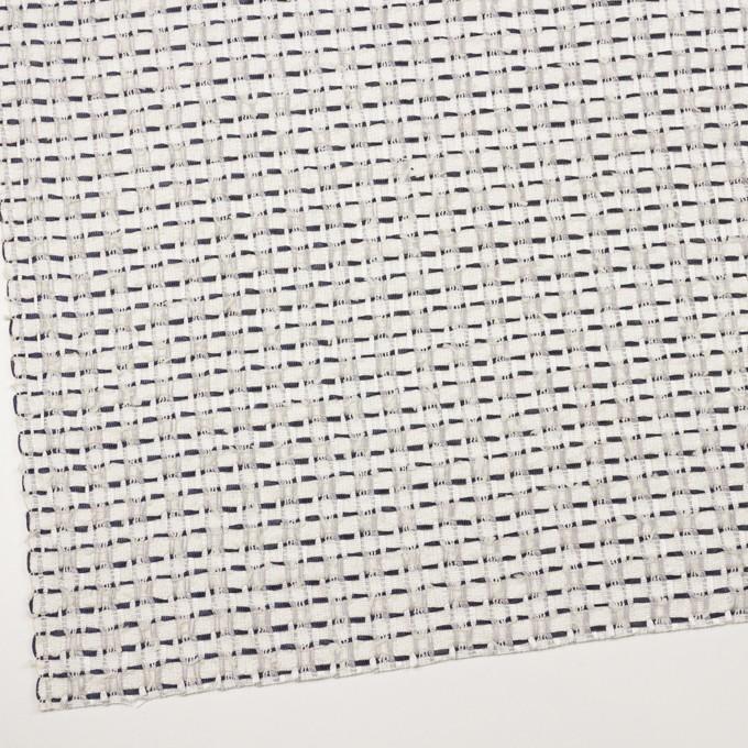 コットン&ナイロン×チェック(オフホワイト、シルバー&ネイビー)×ファンシーツイード イメージ2