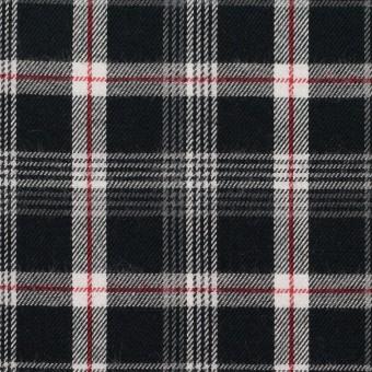 コットン×チェック(ブラック、レッド&グレー)×ビエラ