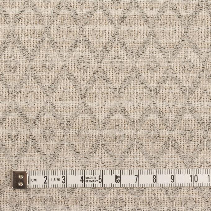 リネン&ウール×ダイヤ(エクリュ&チャコール)×ジャガード イメージ4