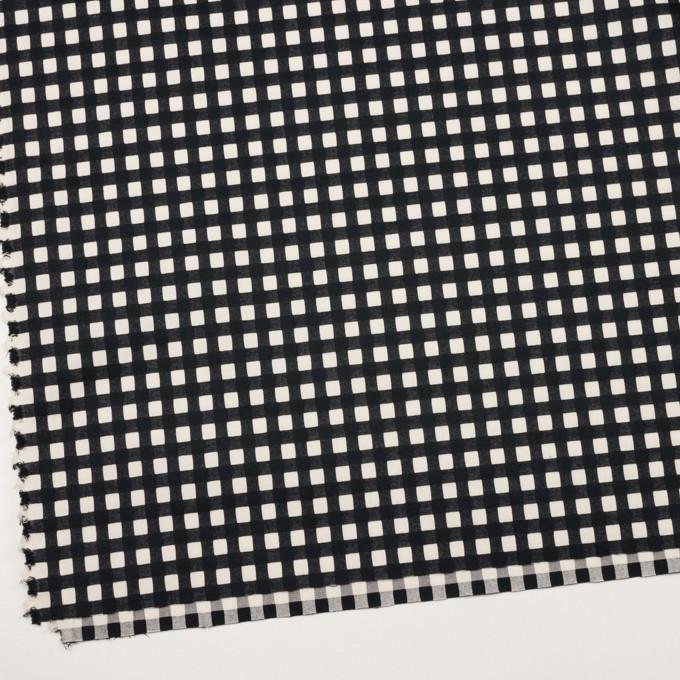 コットン&ポリウレタン×チェック(エクリュ&ブラック)×ポプリンジャガード・ストレッチ イメージ2