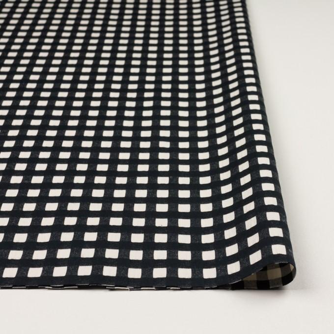コットン&ポリウレタン×チェック(エクリュ&ブラック)×ポプリンジャガード・ストレッチ イメージ3