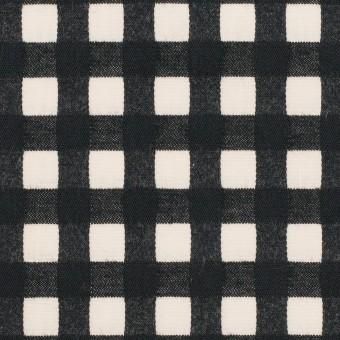 コットン&ポリウレタン×チェック(エクリュ&ブラック)×ポプリンジャガード・ストレッチ
