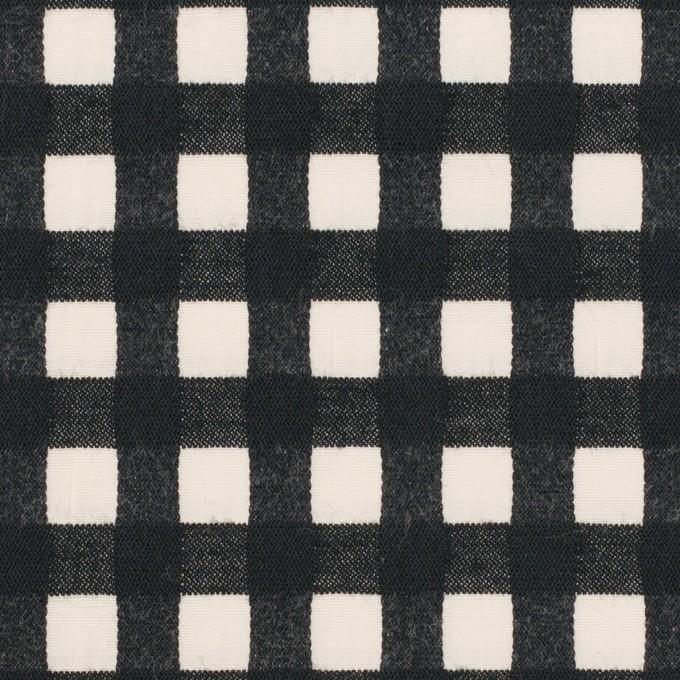 コットン&ポリウレタン×チェック(エクリュ&ブラック)×ポプリンジャガード・ストレッチ イメージ1