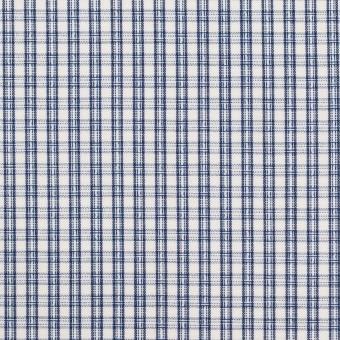 コットン×チェック(ブルー)×ブロードジャガード
