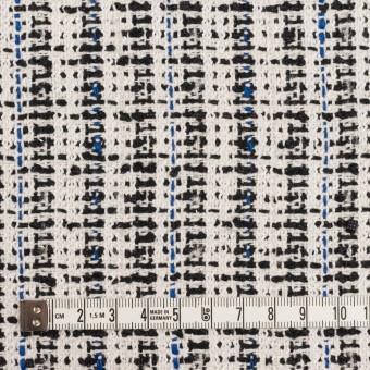コットン&ポリエステル混×ミックス(アイボリー、ブルー&ブラック)×ファンシーツイード_ 全2色 サムネイル4