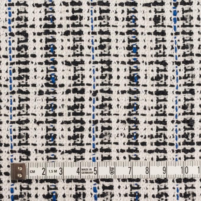 コットン&ポリエステル混×ミックス(アイボリー、ブルー&ブラック)×ファンシーツイード_ 全2色 イメージ4