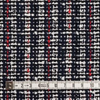 コットン&ポリエステル混×ミックス(ダークネイビー、レッド&オフホワイト)×ファンシーツイード_全2色 サムネイル4