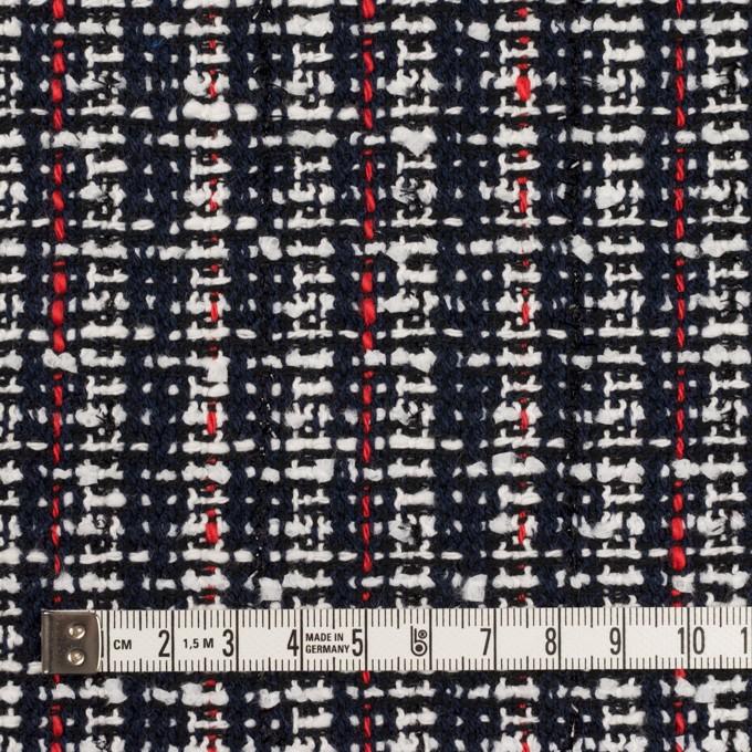 コットン&ポリエステル混×ミックス(ダークネイビー、レッド&オフホワイト)×ファンシーツイード_全2色 イメージ4