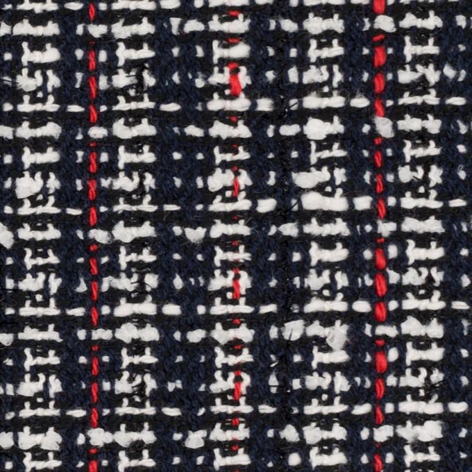 コットン&ポリエステル混×ミックス(ダークネイビー、レッド&オフホワイト)×ファンシーツイード_全2色 イメージ1