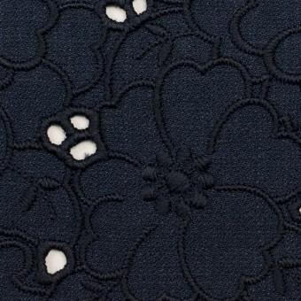 ポリエステル×フラワー(ネイビー)×かわり織刺繍