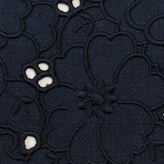 ポリエステル×フラワー(ネイビー)×かわり織刺繍 イメージ1