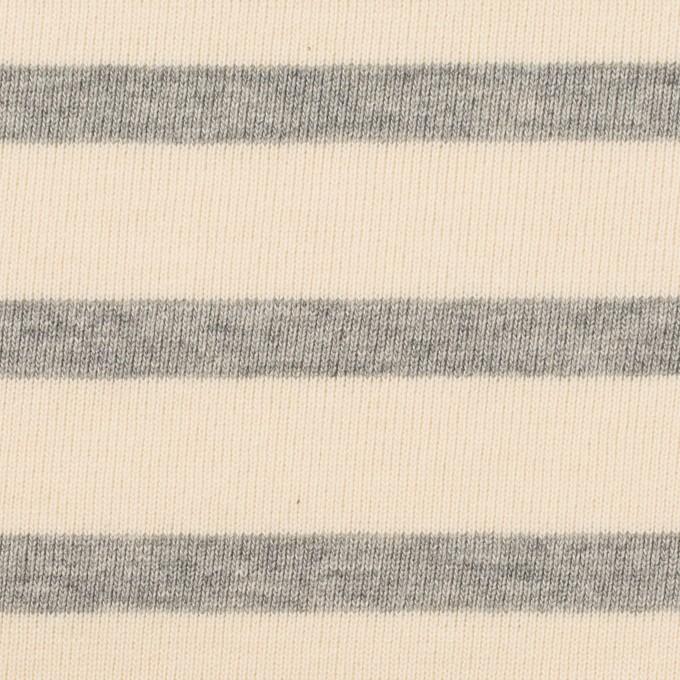 コットン×ボーダー(エクリュ&ライトグレー)×天竺ニット_全4色 イメージ1