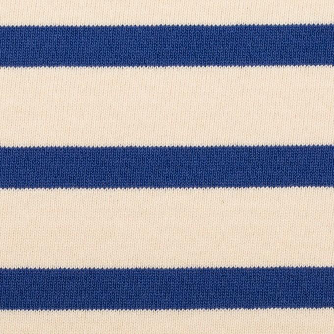 コットン×ボーダー(エクリュ&ブルー)×天竺ニット_全4色 イメージ1