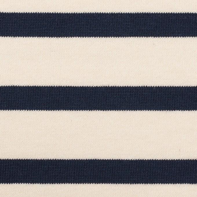 コットン×ボーダー(バニラ&ダークネイビー)×天竺ニット_全4色 イメージ1