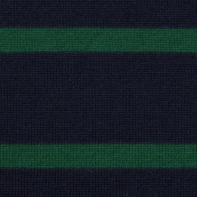 コットン×ボーダー(ダークネイビー&モスグリーン)×天竺ニット イメージ1