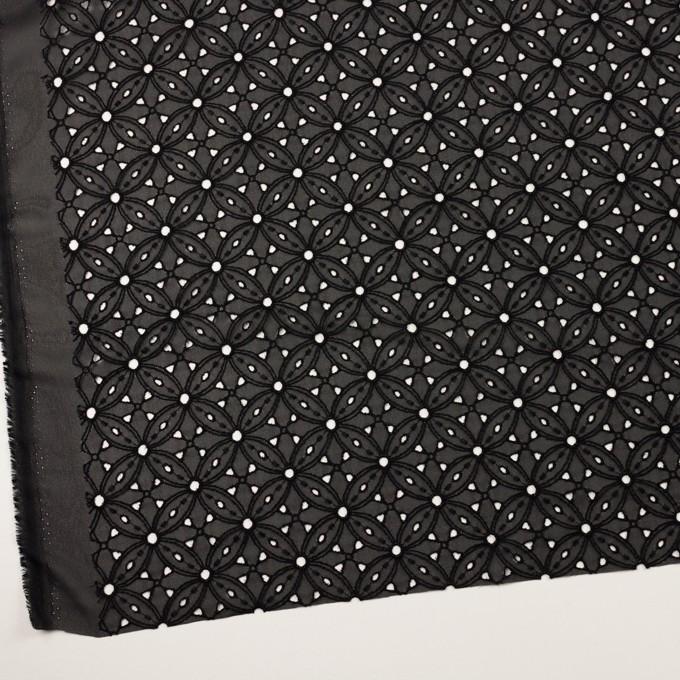 ポリエステル×フラワー(ブラック)×ジョーゼット刺繍 イメージ2