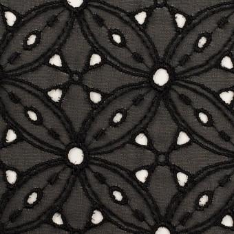ポリエステル×フラワー(ブラック)×ジョーゼット刺繍 サムネイル1