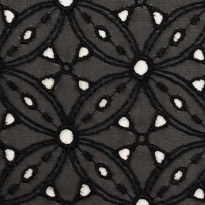 ポリエステル×フラワー(ブラック)×ジョーゼット刺繍 イメージ1