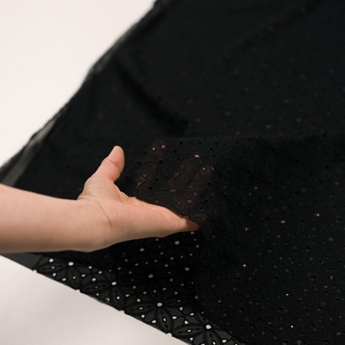 ポリエステル×フラワー(ブラック)×ジョーゼット刺繍 イメージ5
