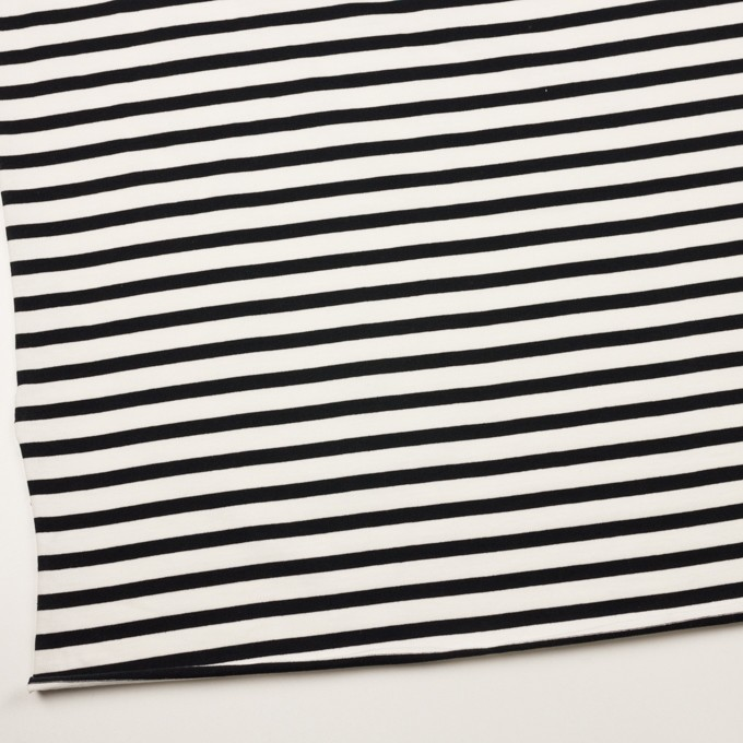 コットン×ボーダー(オフホワイト&ブラック)×天竺ニット イメージ2