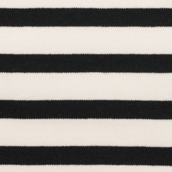 コットン×ボーダー(オフホワイト&ブラック)×天竺ニット