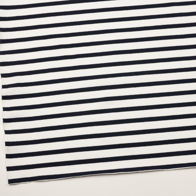 コットン&ポリウレタン×ボーダー(ホワイト&ブラック)×天竺ニット イメージ2
