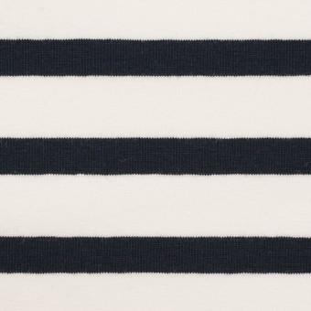 コットン&ポリウレタン×ボーダー(ホワイト&ブラック)×天竺ニット サムネイル1