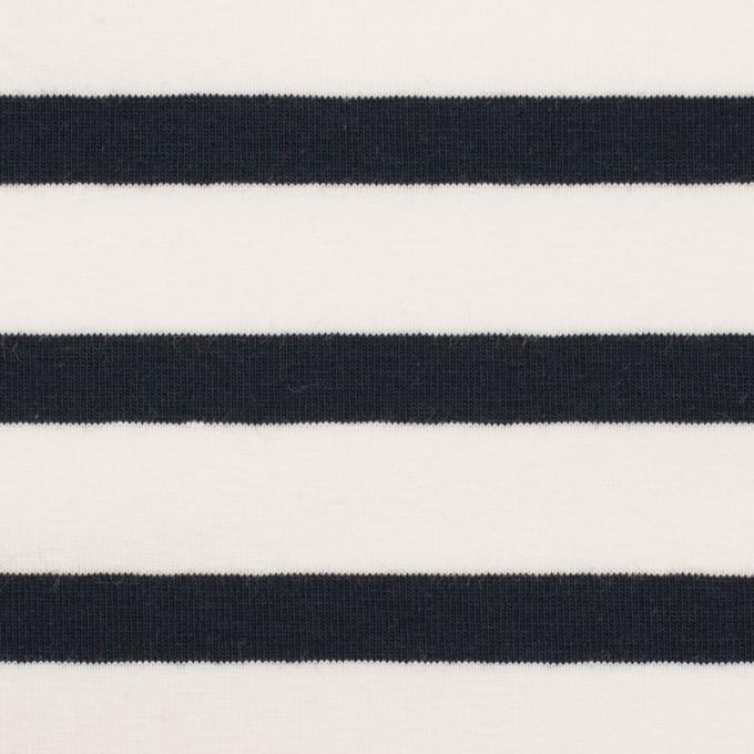 コットン&ポリウレタン×ボーダー(ホワイト&ブラック)×天竺ニット イメージ1