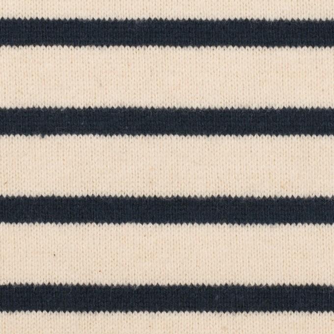 コットン×ボーダー(エクリュ&ブラック)×天竺ニット イメージ1