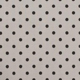 【110cmカット】コットン&ポリウレタン×ドット(ストーングレー&ブラック)×サテンストレッチ