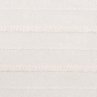 コットン&レーヨン×ボーダー(パールホワイト)×ボイルジャガード