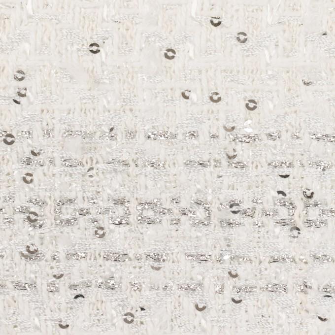 コットン&ポリエステル混×ミックス(オフホワイト&シルバー)×ファンシーツイード イメージ1