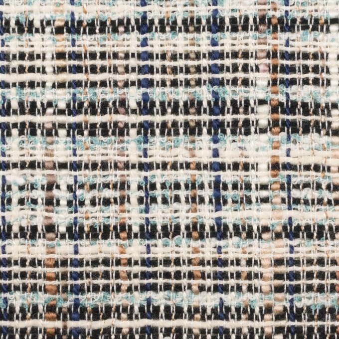コットン&ポリエステル混×ミックス(エクリュ、モカ&ダークネイビー)×ファンシーツイード イメージ1
