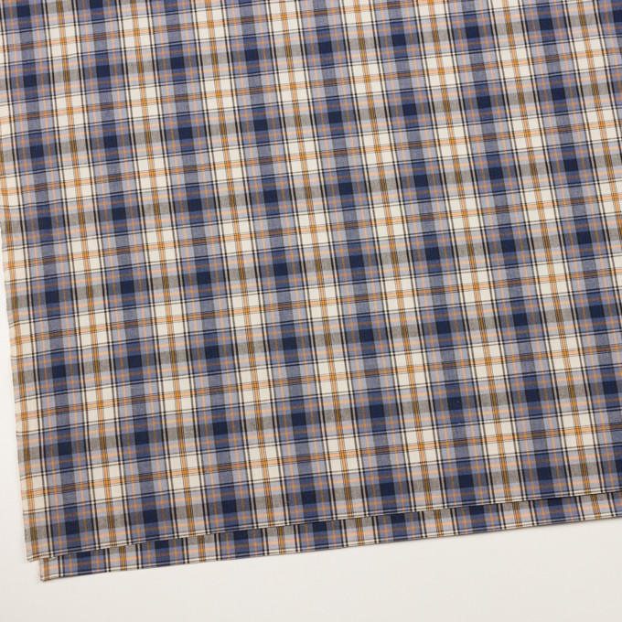 コットン×チェック(ウィステリア、エクリュ&オレンジ)×高密ブロード・ワッシャー イメージ2