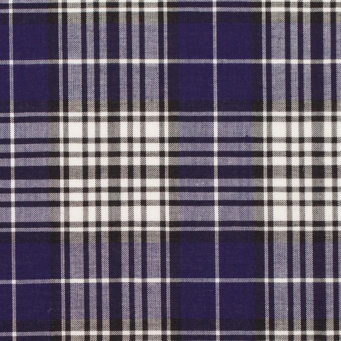 コットン×チェック(マリンブルー&ブラック)×ローン イメージ1