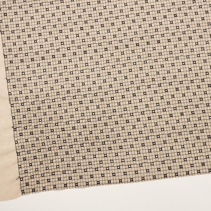 ポリエステル×チェック(ライトベージュ&ブラック)×ジョーゼット刺繍_全3色 イメージ2