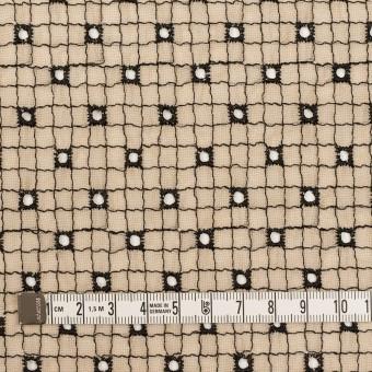 ポリエステル×チェック(ライトベージュ&ブラック)×ジョーゼット刺繍_全3色 サムネイル4