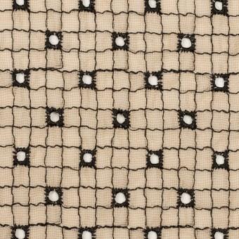 ポリエステル×チェック(ライトベージュ&ブラック)×ジョーゼット刺繍_全3色 サムネイル1