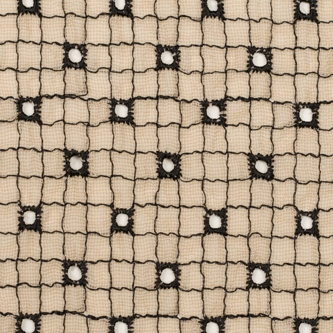 ポリエステル×チェック(ライトベージュ&ブラック)×ジョーゼット刺繍_全3色 イメージ1