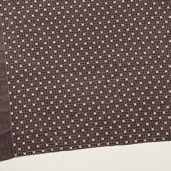 ポリエステル×チェック(レーズン&エクリュ)×ジョーゼット刺繍_全3色 イメージ2