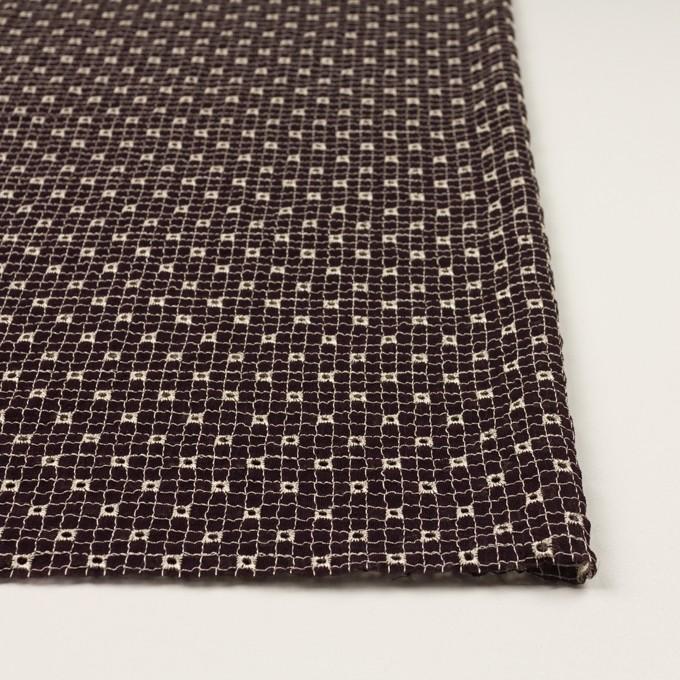 ポリエステル×チェック(レーズン&エクリュ)×ジョーゼット刺繍_全3色 イメージ3